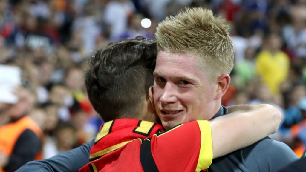 ADORED  De Bruyne is hugged by a Belgium fan after another excellent  performance 33fdfdce6