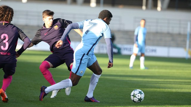 KEEP GOING: Dilrosun cuts inside as he looks to create an opportunity for City