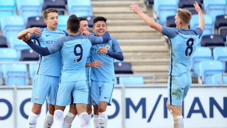 GET IN: City's U18s celebrate during their recent win over Derby County