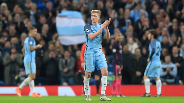 TOP BOY: Kevin De Bruyne celebrates a win against Barcelona