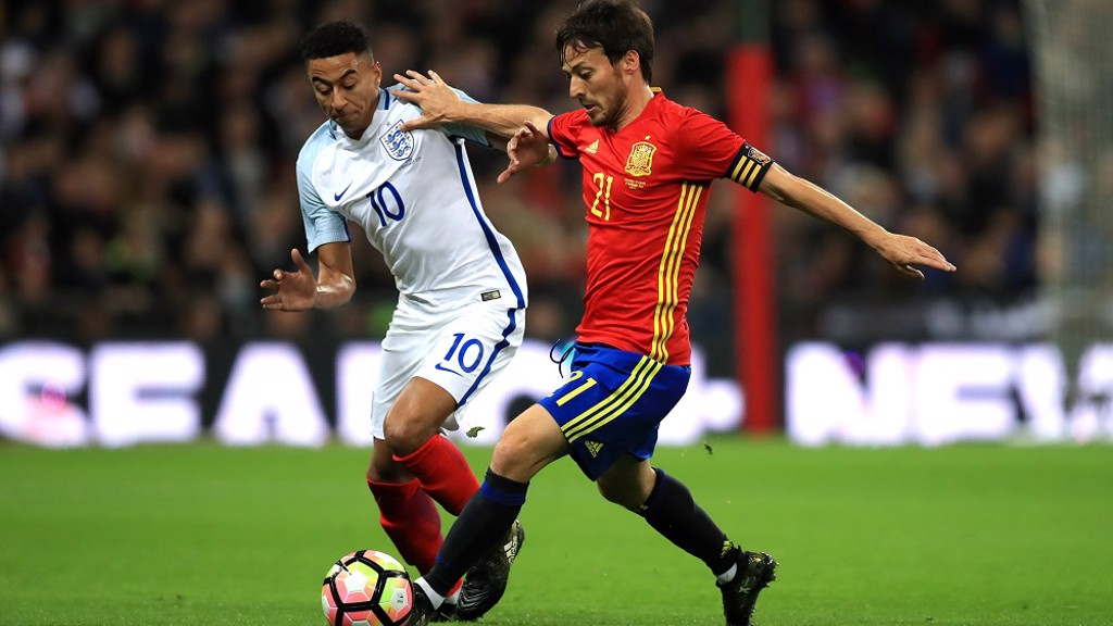 CAPTAIN MATERIAL: Silva holds off United's Jesse Lingard