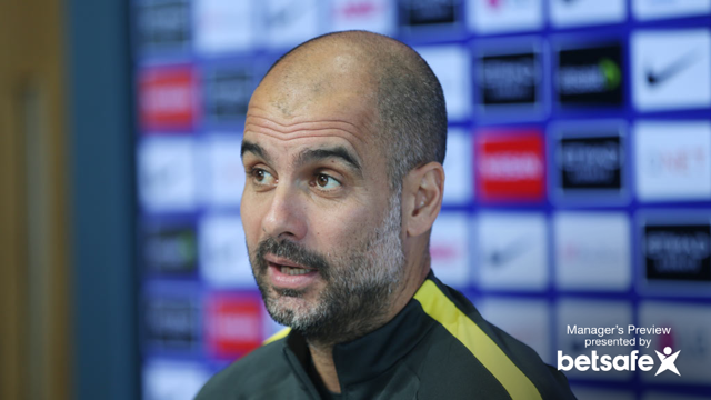 LEAN BACK: Pep ahead of the trip to Burnley