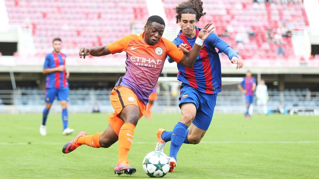 PACEY: Nemane finds his way behind the Barcelona defence yet again