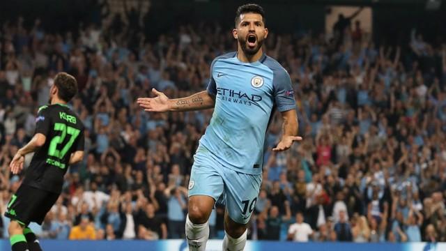 LETHAL FINISHER: Aguero celebrates one of his 11 goals so far this season