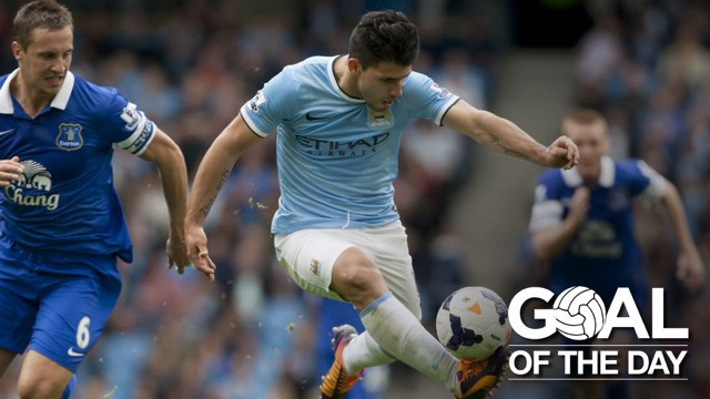 MENACE: Aguero enjoys an impressive day against the Toffees in 2013