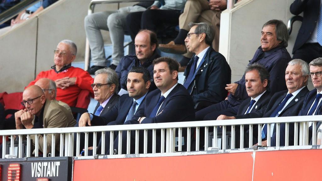 WATCHING BRIEF: Khaldoon Al Mubarak, Ferran Soriano, Txiki Begiristain, Mike Summerbee and Brian Marwood watching the match.
