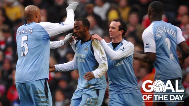 DAZ-ZLING: Darius Vassell celebrates his leveller against Southampton in 2007