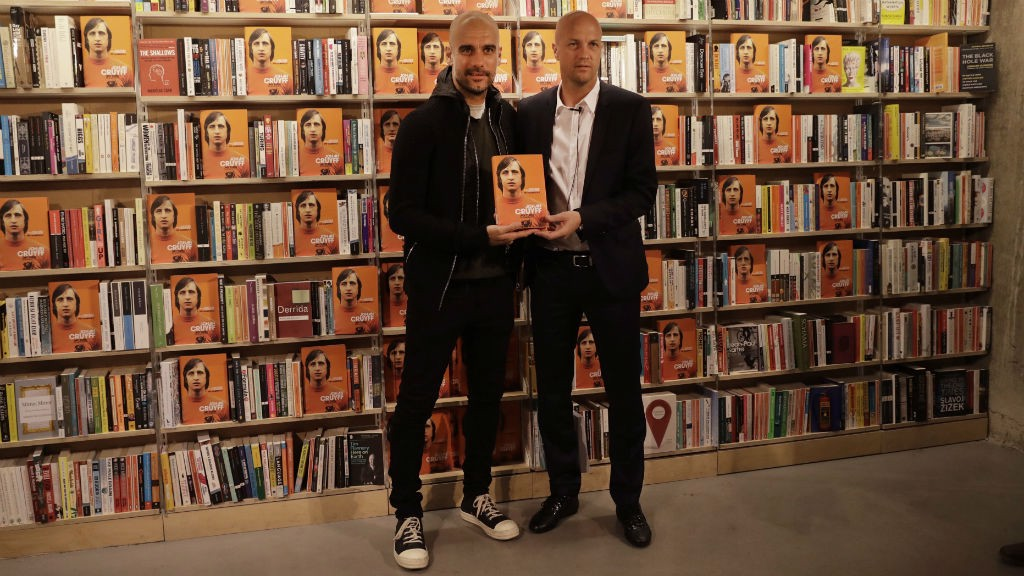 Pep Guardiola with Jordi Cruyff in London on Thursday