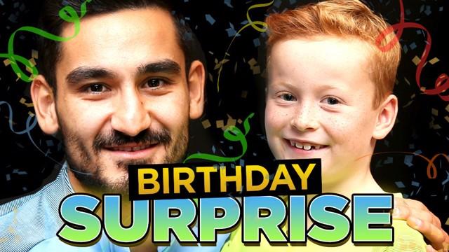 BIRTHDAY SURPRISE: Gundogan and Braydon smile for the camera