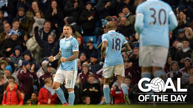 YES: Kolarov celebrates his strike against Southampton with a roar