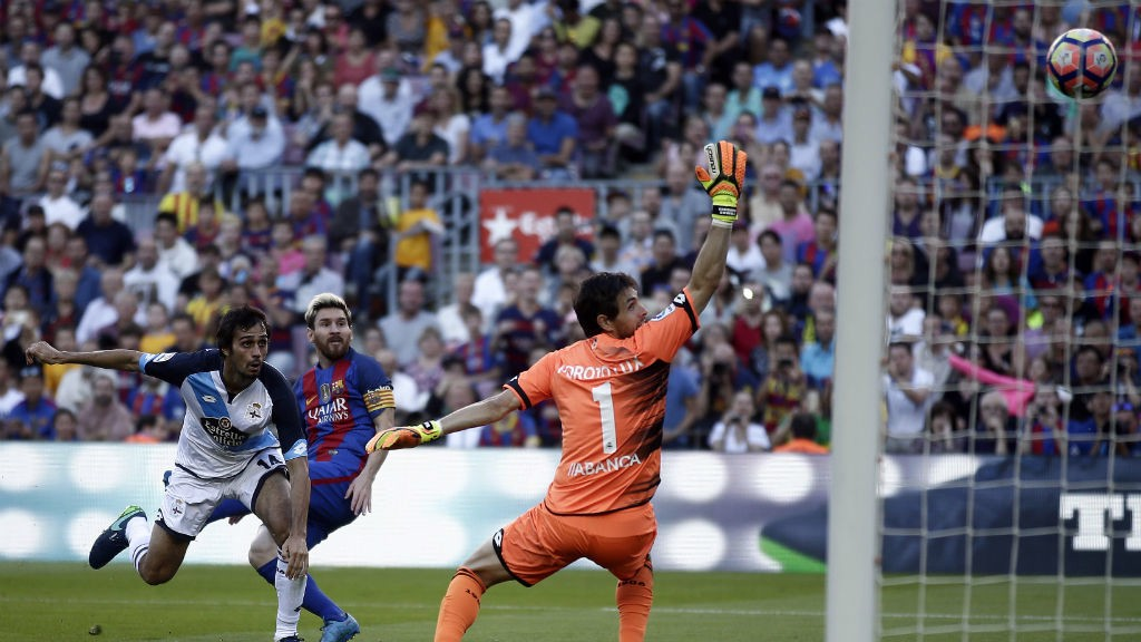 STRAIGHT BACK: Messi fires home within minutes of returning against Deportivo La Coruna