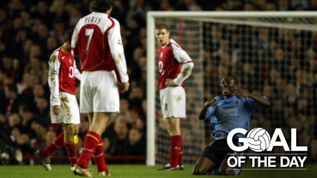 KNEE-SLIDE: Wright-Phillips celebrates his excellent strike against Arsenal