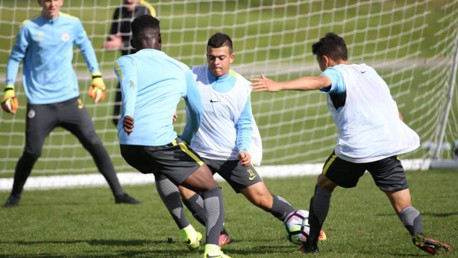 BATTLE: City's youngsters train ahead of their Premier League fixture with Derby County