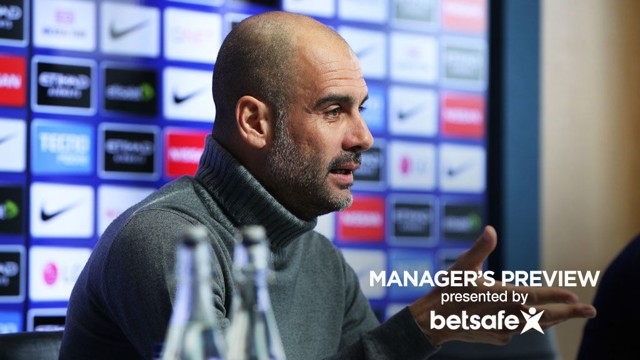 FOCUSED: City's boss answers a question during his pre-match press conference