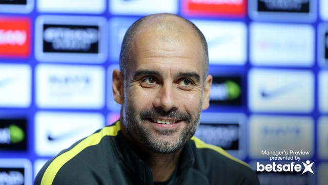 PEP TALK: Pep Guardiola addresses the media ahead of the game