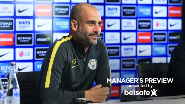 MANAGER'S PREVIEW: Pep Guardiola faces journalists' questions.