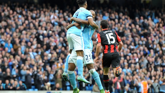THREE FOR 'HEEM: Sterling scores three in this fixture last season