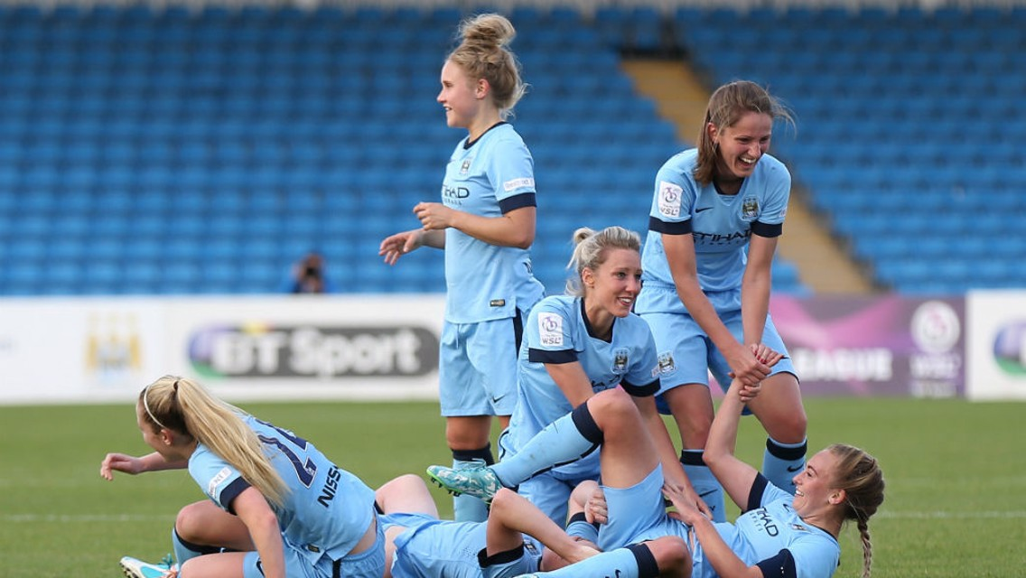SAME AGAIN PLEASE: City Women celebrate Toni Duggan's winner over Chelsea in October 2014