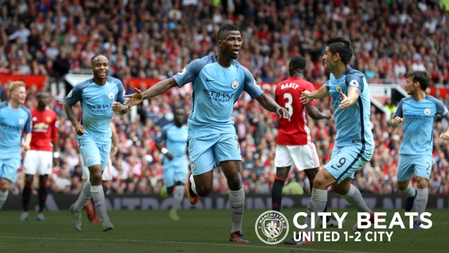 DERBY DELIGHT: Kelechi Iheanacho wheels away having doubled City's advantage at Old Trafford