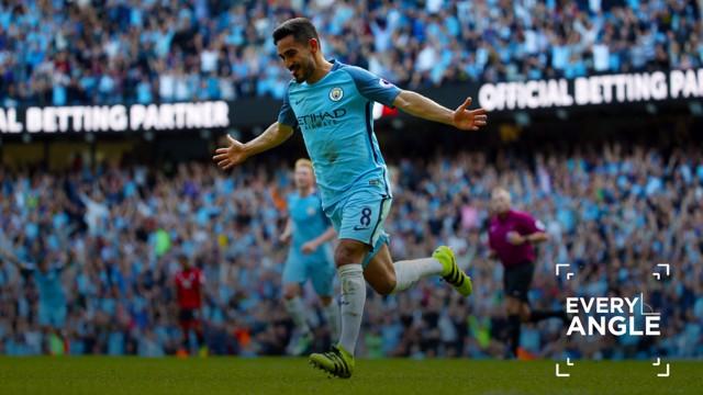 INSTANT IMPACT: Ilkay Gundogan celebrates finding the net on his Premier League debut