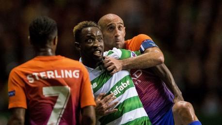TUSSLE: Zabaleta battles for the ball with Celtic's Moussa Dembele