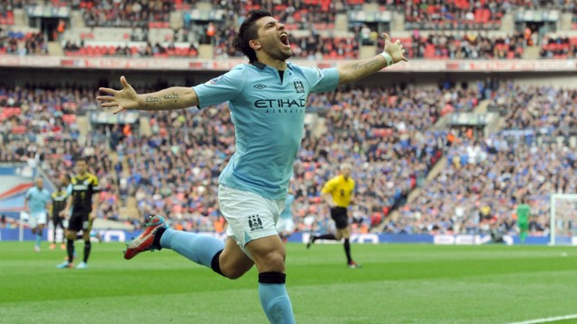 AGUERO: City's Argentinian celebrates his famous header at Wembley