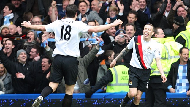 MAGNIFICENT: Craig Bellamy celebrates a wonderful golden effort against Chelsea in at 2-4 win in 2010.
