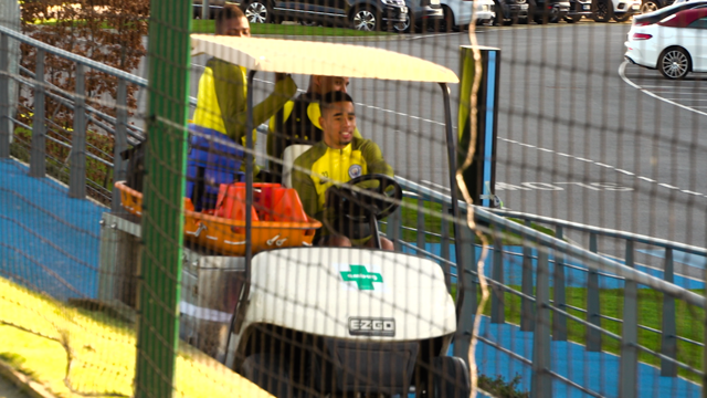 MISCHIEF: Gabriel Jesus takes a ride on the buggy!