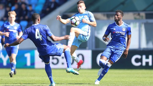 GARRE: City debutant Benjamin Garre gets stuck in against Chelsea