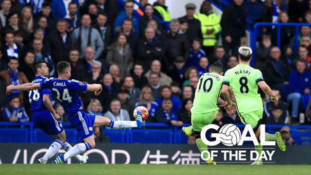 ON TARGET: Sergio Aguero opens the scoring against Chelsea in April 2016.