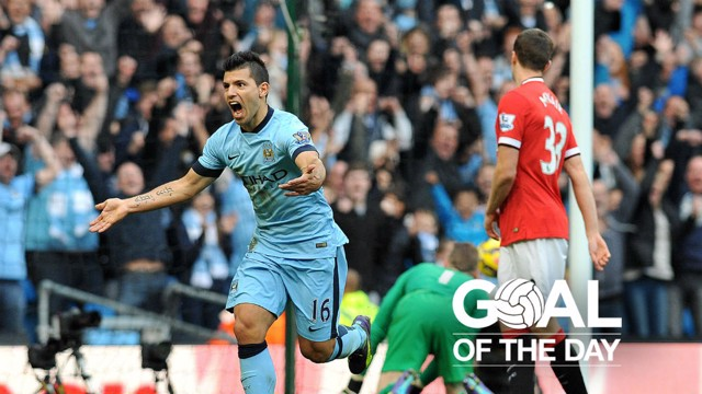 DERBY DELIGHT: Sergio Aguero scored the only goal of the game at the Etihad in 2014.