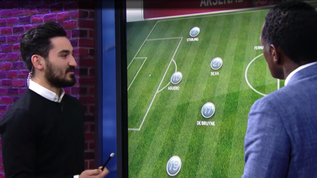 ANALYST: Ilkay Gundogan was an analyst for the day at NBC Studios while City played against Liverpool back at the Etihad Stadium.
