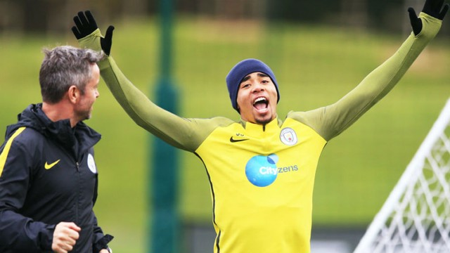 HANDS IN THE AIR: Gabriel Jesus enjoys training