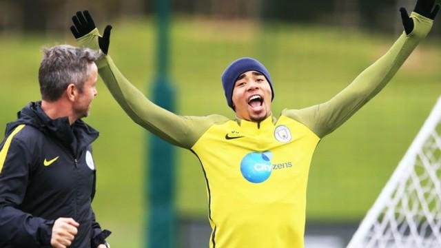 HANDS IN THE AIR: Gabriel Jesus enjoys training