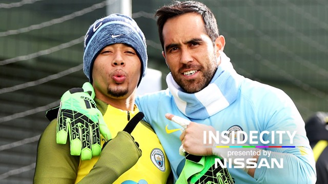 ALL SMILES: Gabriel Jesus and Claudio Bravo are arm in arm during a training session this week