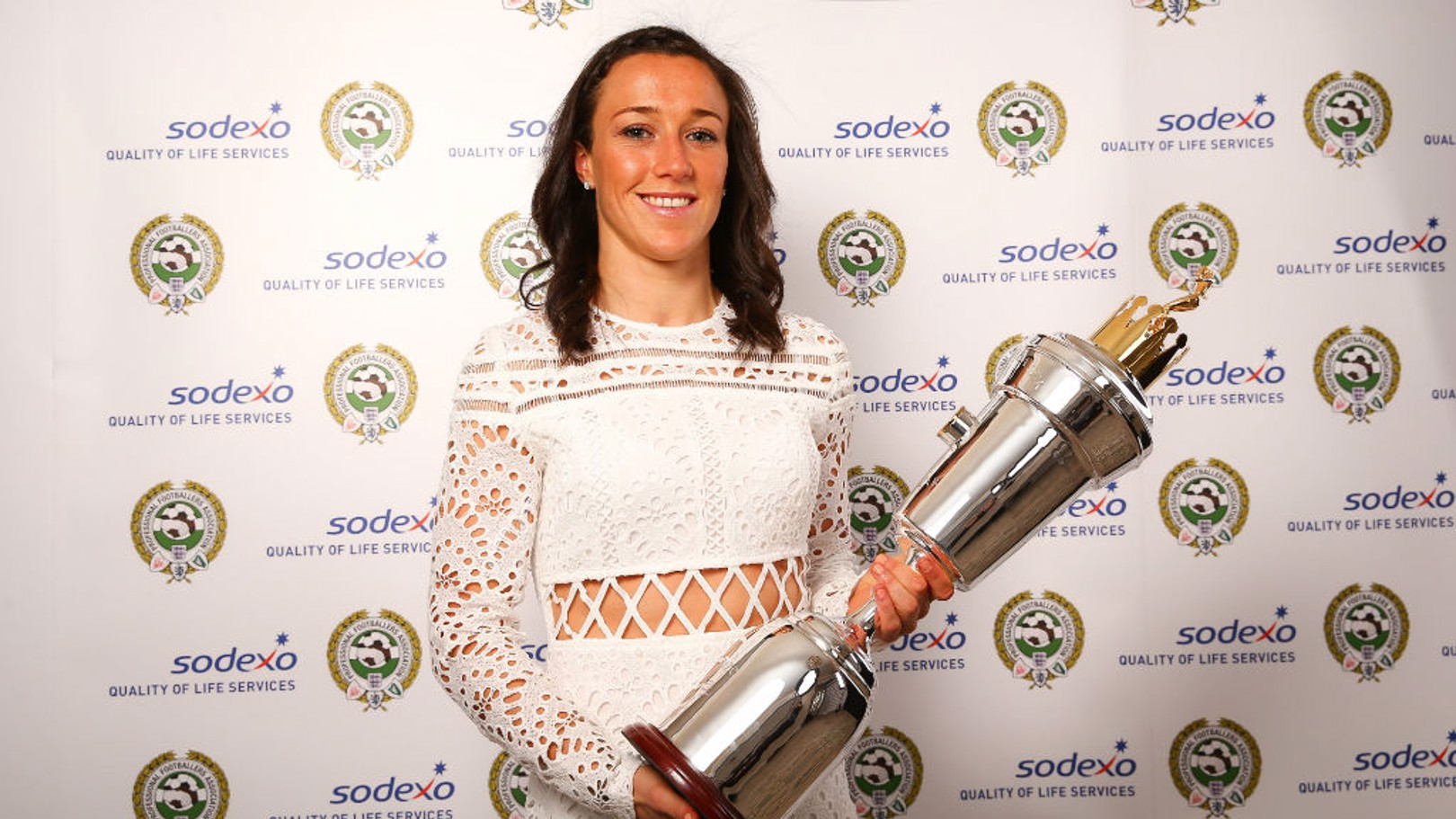 WINNER: Lucy Bronze collects her PFA Women's Player of the Year award.