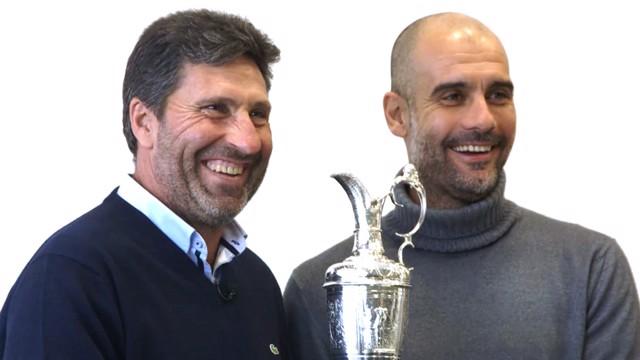 CFA MEET: Pep showed Jose Maria Olazabal around the City Football Academy recently.