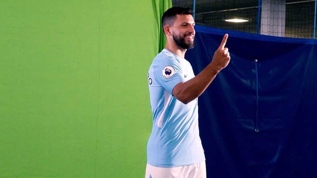 CELEBRATION TIME: Sergio Aguero takes part in Manchester City's Media Day