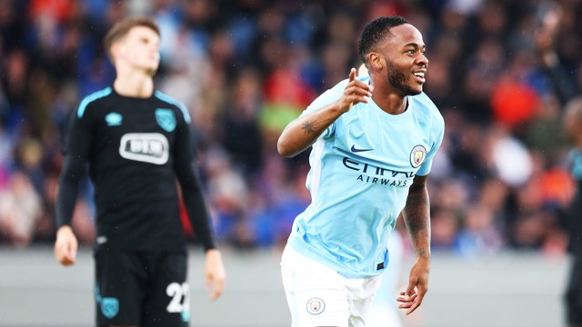 ON TARGET: Raheem Sterling celebrates against West Ham.
