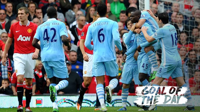 INFAMOUS: Mario Balotelli celebrates his first goal as City beat United 6-1 in 2011.
