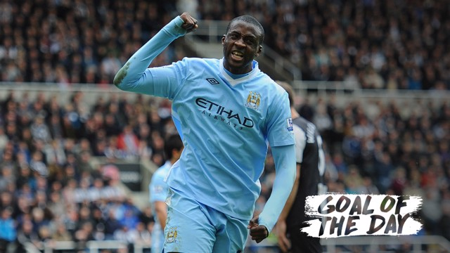 THE KING: Yaya Toure bagged a pivotal brace as City moved to within one win of a first Premier League title