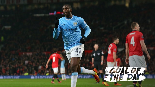 MAIN MAN: Yaya Toure celebrates scoring against Manchester United in a 3-0 win in 2014.