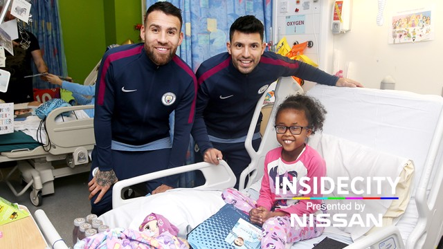 SURPRISE: Manchester City players visited youngsters at Royal Manchester Children's Hospital.