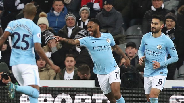 STERLING WORK: Raheem Sterling bagged his 17th goal of the season against Newcastle