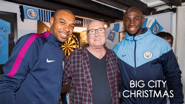SURPRISE: City fan Steve was visited by Fernandinho and Eliaquim Mangala.