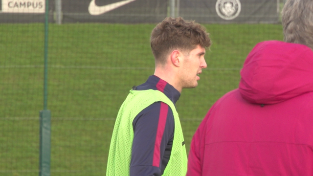 RECOVERY: John Stones in training on Thursday