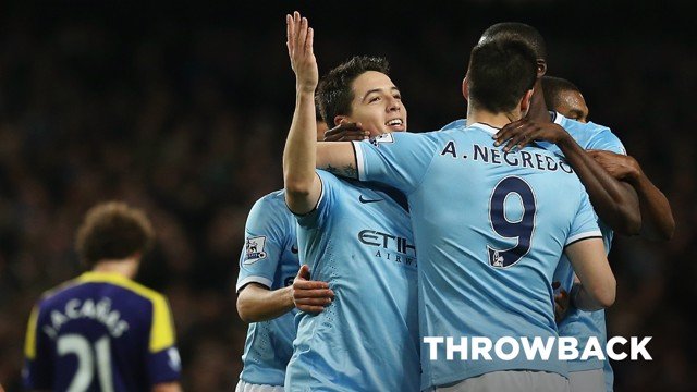 THROWBACK: Samir Nasri, Yaya Toure and Alvaro Negredo celebrate a 3-0 triumph over Swansea in 2013