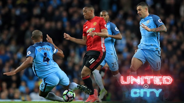 FULL-BLOODED: Vincent Kompany in action against United last season