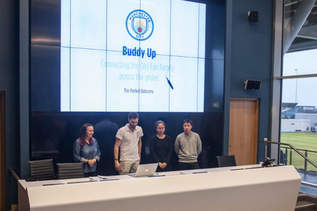 WINNERS: Buddy Up present their ideas.