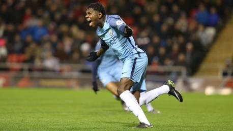 BUCKLEY-RICKETTS: City's young striker celebrates a recent strike against Manchester United